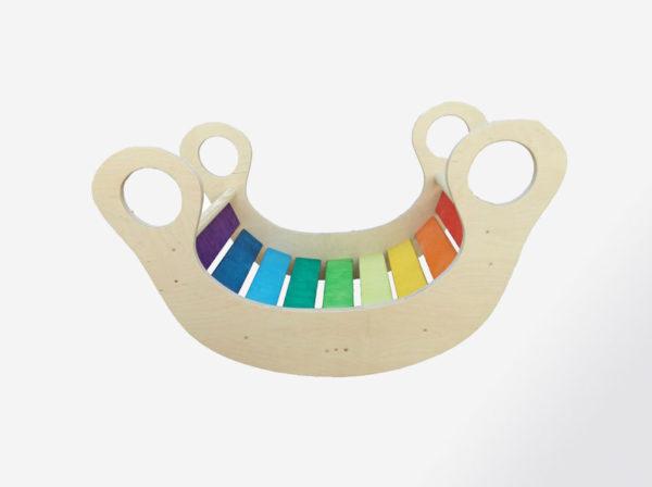 Balancin Arcoiris de madera, juguetes hechos artesanalmente por Little viking toy