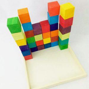 Cubos arcoíris VIVOS de madera hecho artesanalmente por Little viking toy.com