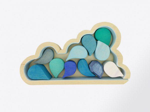 bloques de nube y gotas de madera, juguetes hechos artesanalmente por Little viking toy