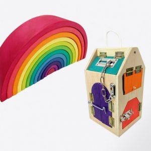 pack de arcoiris grande VIVOS + casita de cerraduras de madera, juguetes hechos artesanalmente por Little viking toy
